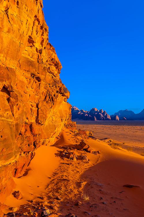 Rock formations, Wadi Rum, Arabian Desert, Jordan.