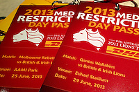 MELBOURNE, 23 JUNE 2013 - Accreditation passes for the 2013 Lions Tour matches in Melbourne. Photo Sydney Low.