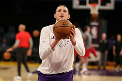 February 27, 2019 - Los Angeles, CA, U.S. - LOS ANGELES, CA - FEBRUARY 27: Los Angeles Lakers Forward Mike Muscala before the New Orleans Pelicans versus Los Angeles Lakers game on February 27, 2019, at Staples Center in Los Angeles, CA. (Photo by Icon Sportswire) (Credit Image: © Icon Sportswire/Icon SMI via ZUMA Press)