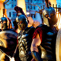 """Greek sentries pose for a portrait at the world premiere of """"The Clash of the Titans,"""" a remake of the 1981 film, at Empire Leicester Square, London.  With a narrative inspired by the Greek myth of Perseus, Leicester Square was transformed into a ancient Greek setting, complete with a legion of soldiers, columns and scultpture ruins."""