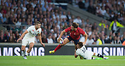 Twickenham, England. Left Jonny MAY, combines with Henry SLADE to defend against Frances, Remi LAMERAT.  during the  QBE International. England vs France [World cup warm up match]  {DOW  {DATE}  [Mandatory Credit. Peter SPURRIER/Intersport Images.