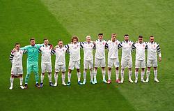 Czech Republic players line up for the UEFA Euro 2020 Group D match at Hampden Park, Glasgow. Picture date: Monday June 14, 2021.
