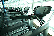 Royal Caribbean International's  Independence of the Seas, the world?s largest cruise ship. ..Interior and exterior features photos...Treadmills in the fitness centre. *** Local Caption *** Treadmills in the fitness centre.