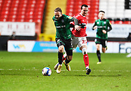 Rochdale's Ryan McLaughlin wins the ball during the EFL Sky Bet League 1 match between Charlton Athletic and Rochdale at The Valley, London, England on 12 January 2021.