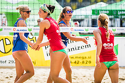 Erika Fabjan of Sberbank, Monika Potokar of Sberbank, Ana Skarlovnik of team Ana in Jelena and Jelena Pesic of team Ana in Jelena during Qlandia Beach Challenge 2015 and Beach Volleyball Slovenian National Championship 2015, on July 25, 2015 in Kranj, Slovenia. Photo by Ziga Zupan / Sportida