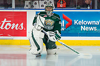 KELOWNA, BC - FEBRUARY 15: Max Palaga #31 of the Everett Silvertips kneel on the ice during warm up against the Kelowna Rockets at Prospera Place on February 15, 2019 in Kelowna, Canada. (Photo by Marissa Baecker/Getty Images)
