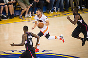 Golden State Warriors guard Stephen Curry (30) pushes the ball down the court against the LA Clippers at Oracle Arena in Oakland, Calif., on January 28, 2017. (Stan Olszewski/Special to S.F. Examiner)