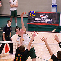2nd year Right-Side hitter Matthew Aubrey (7) of the Regina Cougars in action during the Women's Volleyball Home Game vs U of C Dinos on October21 at the CKHS University of Regina. Credit Arthur Ward/©Arthur Images 2017