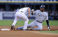 CHICAGO - JULY 20:  Carl Crawford #13 of the Tampa Bay Rays is tagged out attempting to steal second base in the first inning against the Chicago White Sox on July 20, 2009 at U.S. Cellular Field in Chicago, Illinois.  The White Sox defeated the Rays 4-3.  (Photo by Ron Vesely)