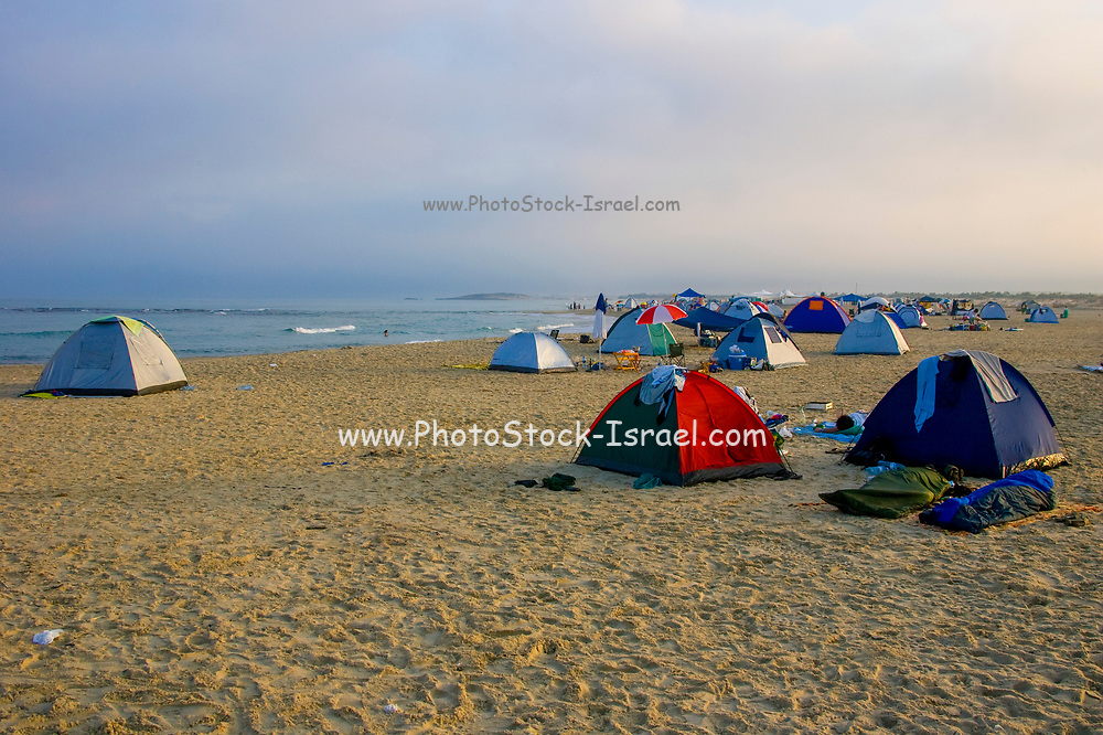 Tents on the beach photographed in Israel Habonim beach