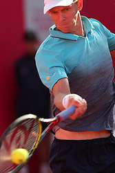 May 3, 2018 - Estoril, Portugal - Kevin Anderson of South Africa returns a ball to Stefanos Tsitsipas of Greece during the Millennium Estoril Open ATP 250 tennis tournament, at the Clube de Tenis do Estoril in Estoril, Portugal on May 3, 2018. (Credit Image: © Pedro Fiuza/NurPhoto via ZUMA Press)