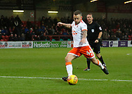Shot on goal by Blackpool's Jay Spearing during the EFL Sky Bet League 1 match between Fleetwood Town and Blackpool at the Highbury Stadium, Fleetwood, England on 25 November 2017. Photo by Paul Thompson.