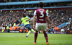 Derby County's Cameron Jerome scores the opening goal after error by Aston Villa's Neil Taylor