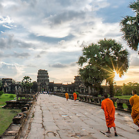 Cambodian monks at sunset at Angkor Wat.<br /> <br /> --<br /> <br /> This photo is free for the non-commercial personal use of subscribers to the Xpat Matt newsletter. <br /> <br /> This photo is not for licensed editorial or commercial use. For editorial or commercial licensing, contact matt@xpat.media.