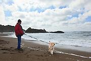 USA, Oregon Coast, Man and his Labrador Retriever, MR