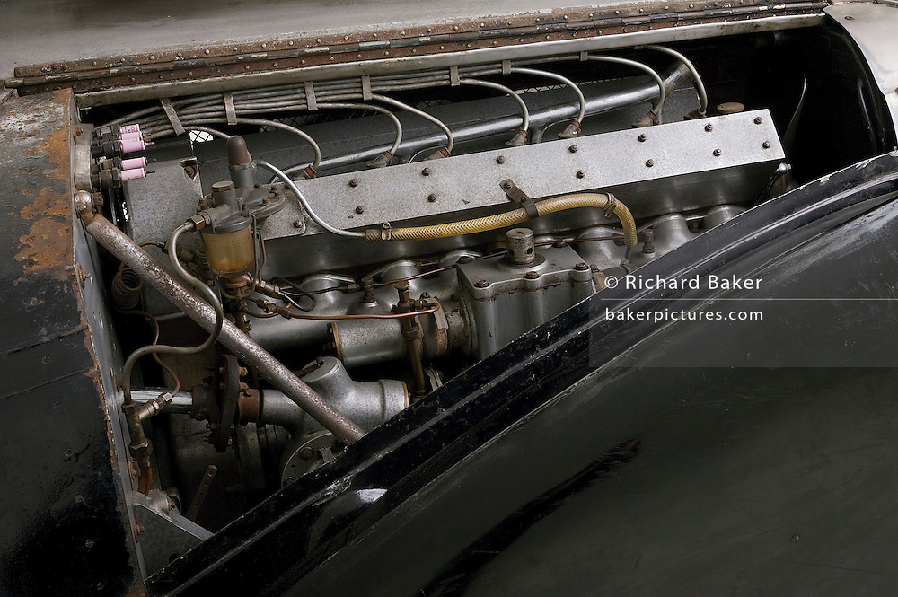 Found in a garage where it had been stored virtually untouched for 50 years, this 1937 Bugatti Type 57s Atalante sports car is previewd for the first time before a Bonhams auction in Paris on February 7th 2009. The calssic Bugatti engine block, manifold and supercharger.