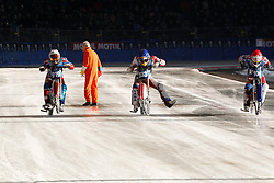 13.03.2016, Assen, BEL, FIM Eisspeedway Gladiators, Assen, im Bild Am Start Daniil Ivanov (RUS), Dmitry Khomitsevich (RUS), Dmitry Koltakov (RUS) // during the Astana Expo FIM Ice Speedway Gladiators World Championship in Assen, Belgium on 2016/03/13. EXPA Pictures © 2016, PhotoCredit: EXPA/ Eibner-Pressefoto/ Stiefel<br /> <br /> *****ATTENTION - OUT of GER*****