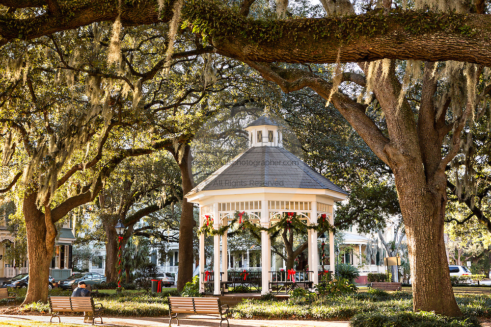 Christmas decorations on the gazebo in Whitfield Square Savannah, GA.