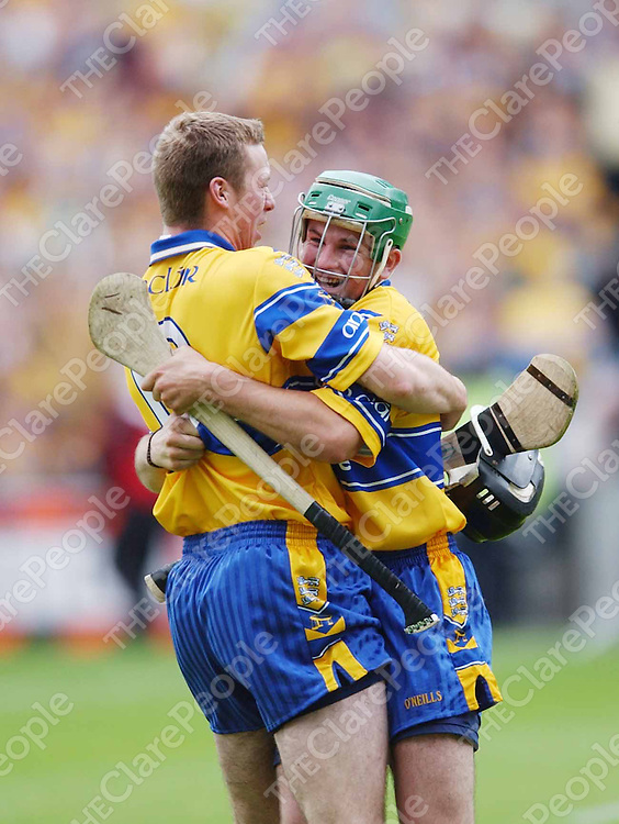 Conor Plunkett and Alan Markham celebrate Clare's win as the final whistle sounds at the All Ireland Senior Hurling semi final against Waterford at Croke Park on Sunday.<br /><br />Photograph Eamon Ward