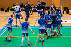 Team Lycurgus celebrate after the 3-1 win in the semi cupfinal between Active Living Orion vs. Amysoft Lycurgus on April 03, 2021 in Saza Topsportshall Doetinchem