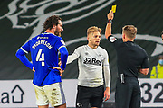 Kamil Jozwiak of Derby County (7)  & Cardiff City defender Sean Morrison (4) receive a yellow card during the EFL Sky Bet Championship match between Derby County and Cardiff City at the Pride Park, Derby, England on 28 October 2020.