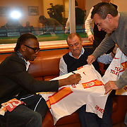 Ivory Coast and former Chelsea striker Didier Drogba Turkish soccer club Galatasaray new player Wesley Sneijder, his arrival at the Florya Metin Oktay Sports Center in Istanbul Turkey on in Istanbul, Turkey, Friday, February 8, 2013. Galatasaray' head coach Fatih Terim with Didier Drogba.  Drogba, 34, has signed a one-and-a-half year contract with Turkey's Galatasaray. Photo by TURKPIX