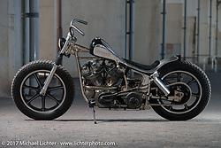"""Hide Motorcycle's Hideya """"Hide"""" Togashi's 1966 Harley-Davidson Shovelhead near his shop in Kawasaki, Kanagawa Prefecture Japan. Tuesday December 5, 2017. Photography ©2017 Michael Lichter."""