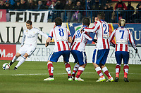 Atletico de Madrid's Griezmann, Raul Garcia, Arda Turan and Jose Maria Gimenez and Real Madrid's Cristiano Ronaldo during 2014-15 Spanish King Cup match at Vicente Calderon stadium in Madrid, Spain. January 07, 2015. (ALTERPHOTOS/Luis Fernandez)