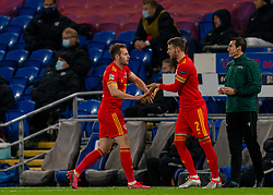 CARDIFF, WALES - Wednesday, November 18, 2020: Wales' Chris Gunter prepares to come on as as a substitute for his 99th cap, replacing Rhys Norrington-Davies, during the UEFA Nations League Group Stage League B Group 4 match between Wales and Finland at the Cardiff City Stadium. Wales won 3-1 and finished top of Group 4, winning promotion to League A. (Pic by David Rawcliffe/Propaganda)