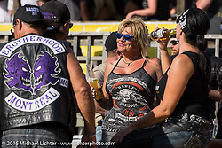 The Brotherhood MC of Montreal at the Broken Spoke Saloon during Laconia Motorcycle Week. Laconia, NH, USA. June 13, 2015.  Photography ©2015 Michael Lichter.