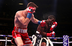 Callum Smith (left) in action against Hassan N'Dam in the WBA 'Super' World, WBC Diamond, Ring Magazine Super-Middlesweight title fight at Madison Square Garden, New York.