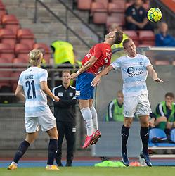 Tobias Thomsen (Hvidovre IF) og Jonas Henriksen (FC Helsingør) under kampen i 1. Division mellem Hvidovre IF og FC Helsingør den 15. september 2020 på Pro Ventilation Arena, Hvidovre Stadion (Foto: Claus Birch).