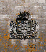 Porto city Coat of Arms at the site commemorating the original Ponte Luiz I (Luis I) Bridge from 1886 in Porto, Portugal