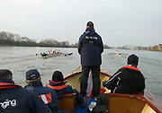 London, Great Britain. Oxford, OUBC [Blue Boat] v. Leander Club, view from the Umpires Launch, as Leander take an early lead,  Pre Boat race fixture over the Championship Course  River Thames. Single race piece - Putney to Chiswick Pier.  on Saturday  12/03/2011 [Mandatory Credit; Karon Phillips/Intersport Images]..Crews:.Oxford OUBC: Bow Moritz HAFNER, Ben MYERS, Dave WHIFFIN,  Ben ELLISON,  Karl HUDSPITH,  Alec DENT,  George WHITTAKER, Stroke Constantine LOULOUDIS, Cox Sam WINTER-LEVY. ..Leander: Bow Oliver HOLT,  Will GRAY,  Graham HALL,  John CLAY,  James ORME,  Tom CLARK,  Ben DUGGAN, Stroke David LAMBOURN, Cox Alex OLIJNYK..
