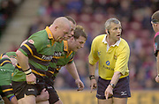 Twickenham, Surrey. England, UK.,02.05.2003, Saints Front Row,   Zurich Premiership Rugby match, Harlequins v Northampton Saints, played at the Stoop Memorial Ground, [Mandatory Credit:Peter Spurrier/ Intersport Images]