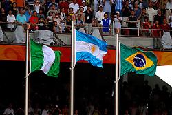 23-08-2008 VOETBAL: OS2008 ARGENTINIE - NIGERIA: BEIJING<br /> Argentinie wint de gouden medaille door Nigeria met 1-0 te verslaan / Nigeria, Argentinie en Brazilie vlaggen<br /> ©2008-WWW.FOTOHOOGENDOORN.NL