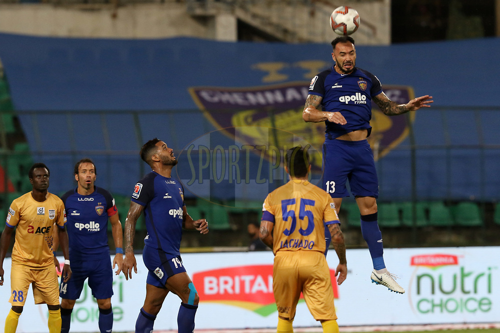 Eli Sabia Filho of Chennaiyin FC  in action during match 27 of the Hero Indian Super League 2018 ( ISL ) between Chennaiyin FC  and Mumbai City FC  held at the Jawaharlal Nehru Stadium, Chennai, India on the 3rd November 2018<br /> <br /> Photo by: Faheem Hussain /SPORTZPICS for ISL