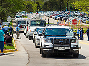 "06 MAY 2020 - DES MOINES, IOWA: First responders drive past Unity Point Health Iowa Methodist Medical Center in Des Moines during the ""appreciation loop"". Des Moines first responders, the Iowa State Patrol, and utility companies made an ""Appreciation Loop"" around Des Moines hospitals on National Nurses' Day to thank nurses and other care givers at the hospital for the care they are providing during the COVID-19 (Coronavirus/SARS-CoV-2) pandemic. Iowa reported 10,404 confirmed cases of COVID-19 statewide Wednesday, about 2,500 cases in the Des Moines metropolitan area. Acting against the advice of many medical professionals, the Governor of Iowa has started reopening businesses in the state. Businesses in the Des Moines area, and other communities with a high number of cases are not allowed to reopen.           PHOTO BY JACK KURTZ"