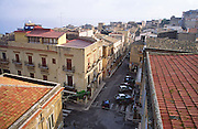 View over rooftops and streets in Castellammare del Golfo, Sicily, Italy