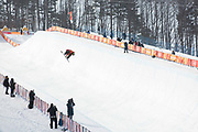 Elias Allenspach, Switzerland,  during the mens halfpipe qualifications at the Pyeongchang Winter Olympics on 13th February 2018 at Phoenix Snow Park in South Korea.