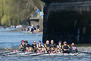Mortlake/Chiswick, GREATER LONDON. United Kingdom. Avon County Rowing Club, Mx.MasD.8+, competing in the 2017 Vesta Veterans Head of the River Race, The Championship Course, Putney to Mortlake on the River Thames.<br /> <br /> <br /> Sunday  26/03/2017<br /> <br /> [Mandatory Credit; Peter SPURRIER/Intersport Images]