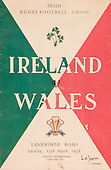 Rugby 1958-15/03 Five Nations Ireland Vs Wales