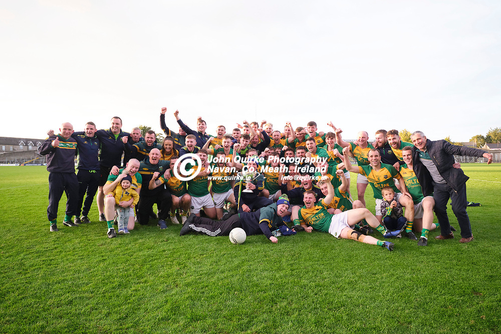 03/10/2020, IFC Final at Pairc Tailteann, Navan<br /> Trim v Ballinabrackey<br /> Ballinabrackey players celebrate with the cup after they defeated Trim in the IFC final  <br /> Photo: David Mullen / www.quirke.ie ©John Quirke Photography, Unit 17, Blackcastle Shopping Cte. Navan. Co. Meath. 046-9079044 / 087-2579454.<br /> FUJIFILM X-T3<br /> ISO: 320; Shutter: 1/250; Aperture: 5;