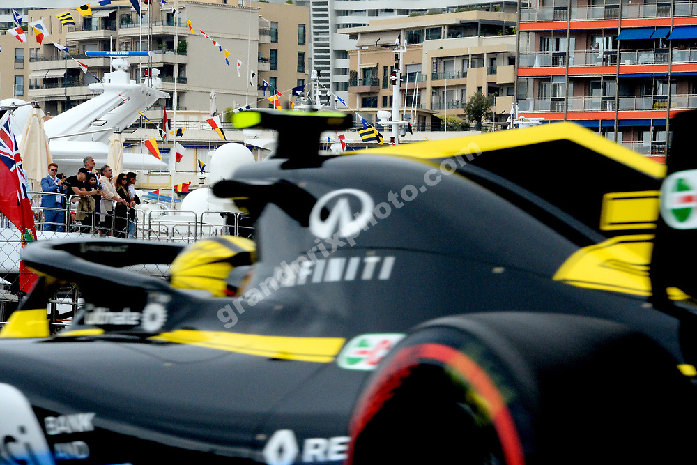Nico Hulkenberg (Renault) in front of a yacht during practice before the 2019 Monaco Grand Prix. Photo: Grand Prix Photo