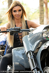 Carol Della Casa of Brazil with her custom 2015 Harley-Davidson Road King with Metalsport Wheels at the Perewitz Paint Show at the Broken Spoke Saloon during Daytona Beach Bike Week, FL. USA. Wednesday, March 13, 2019. Photography ©2019 Michael Lichter.