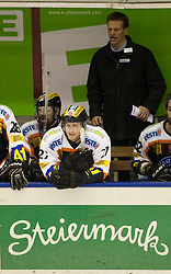 04.02.2011, Eisstadion Liebenau, Graz, AUT, EBEL, Moser Medical Graz 99ers vs KHL Medvescak Zagreb, im Bild Jameson Hunt (Graz 99ers, #27, Verteidigung) auf der Bank, EXPA Pictures © 2011, PhotoCredit: EXPA/ Erwin Scheriau