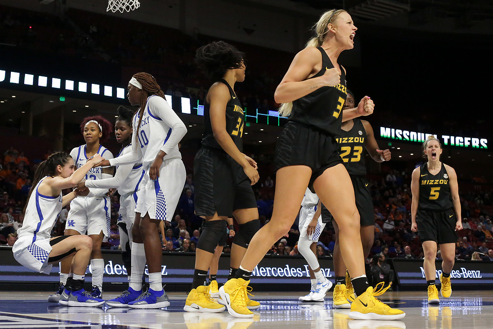 Mizzou Tigers vs. Kentucky Wildcats at the SEC Women's Basketball Tournament at Bon Secour Wellness Arena in Greenville, S.C. on Friday, March 8, 2019. <br /> Zach Bland/Mizzou Athletics