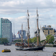 London, England, UK. 15th Apr, 2017. The fleet of Tall Ships Parade of Sail on the River Thames at Cutty Sark,Greenwich with live music food and drinks,London,UK. by See Li