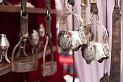 Detail shot of silverware, San Telmo market, Buenos Aires, Federal District, Argentina.