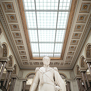 A statue of King Leopold I dated to around 1853 by Guillaume Geefs on display in the main hall at the Royal Museums of Fine Arts in Belgium (in French, Musées royaux des Beaux-Arts de Belgique), one of the most famous museums in Belgium. The complex consists of several museums, including Ancient Art Museum (XV - XVII century), the Modern Art Museum (XIX ­ XX century), the Wiertz Museum, the Meunier Museum and the Museé Magritte Museum.